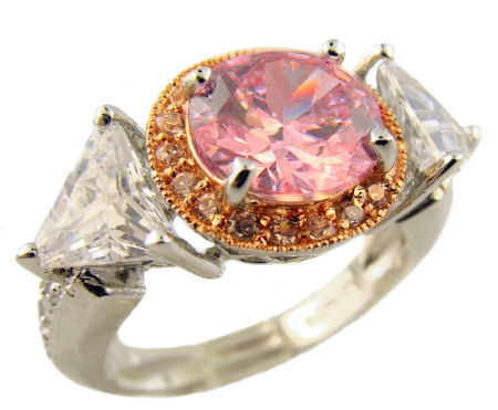 Two Tone 2.00ct Pink Cubic Zirconia Halo Ring w/ Trillions