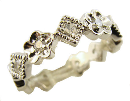 Flower and Diamond Shaped Pave' Eternity Stacking Band - Cubic Zirconia Accents in Sterling Silver