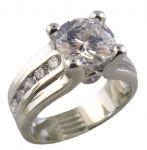 Sterling Silver 2.00ct Cubic Zirconia Engagement Ring w/ Channel Set Accents