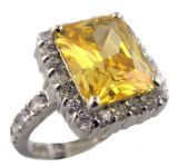 4.00ct Radiant Cut Canary Colored Cubic Zirconia Ring