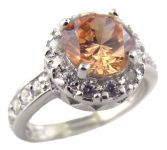 Sterling Silver 1.25ct Champagne Cubic Zirconia Halo Ring