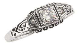 Antique Style Filigree 4.0mm Gemstone & Diamond Ring in Sterling Silver